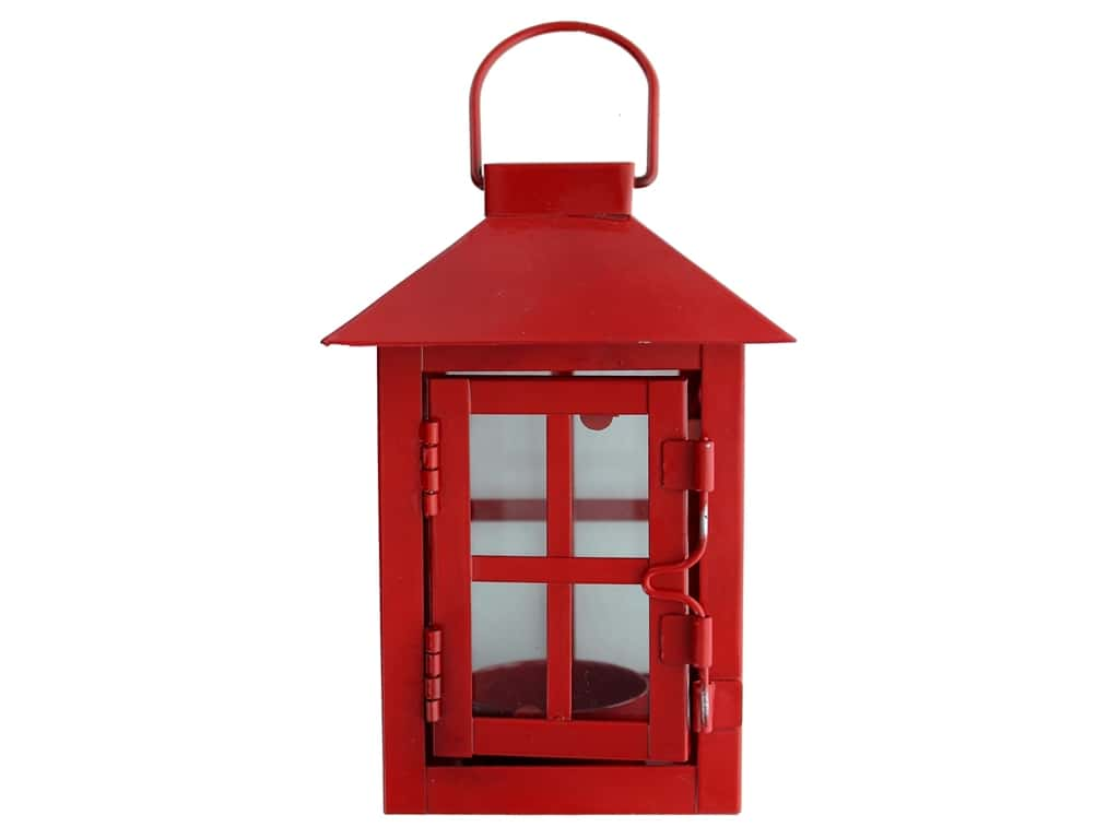 Darice Light Lantern Metal 3 in. x 5.5 in. Red