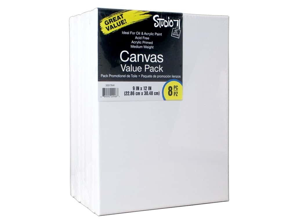 Darice Studio 71 Traditional Canvas 9 in. x 12 in. Value Pack 8 pc