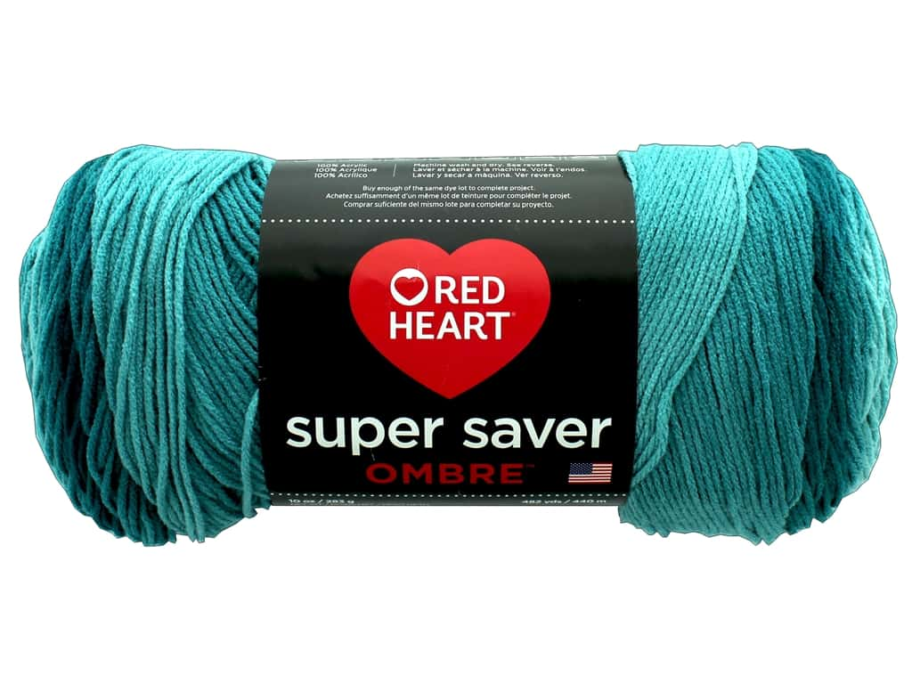 Red Heart Super Saver Ombre Yarn 482 yd. #3985 Deep Teal