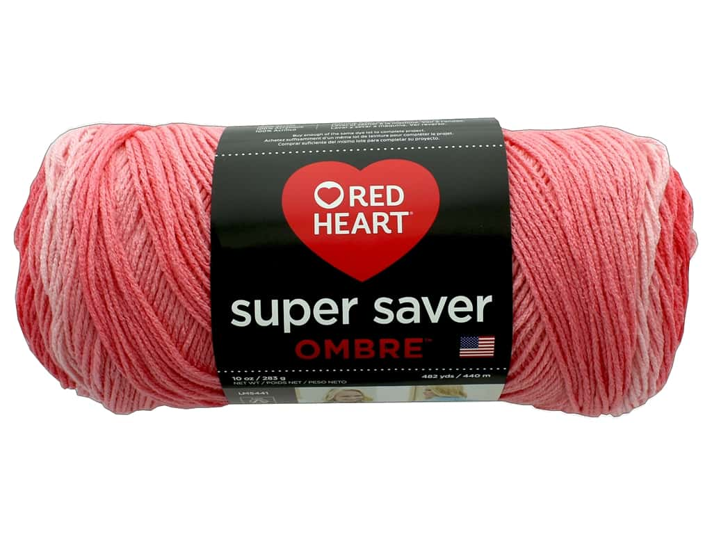 Red Heart Super Saver Ombre Yarn 482 yd. #3967 Sea Coral