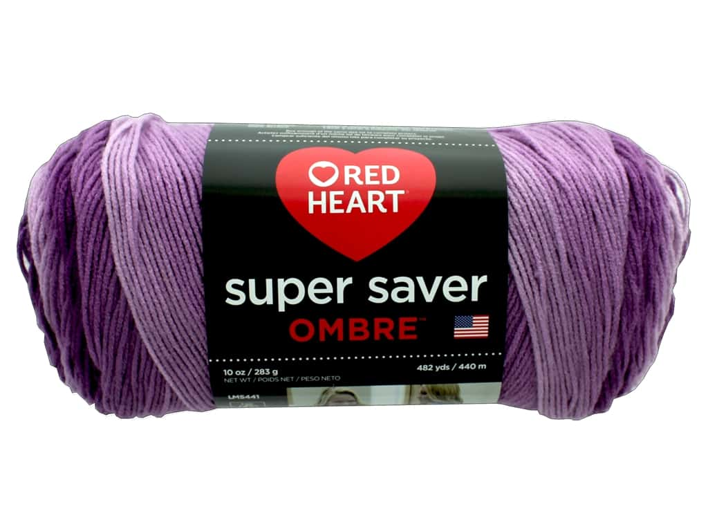 Red Heart Super Saver Ombre Yarn 482 yd. #3968 Purple