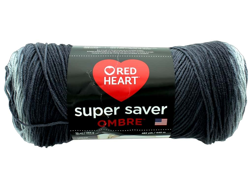 Red Heart Super Saver Ombre Yarn - #3964 Anthracite 482 yd.