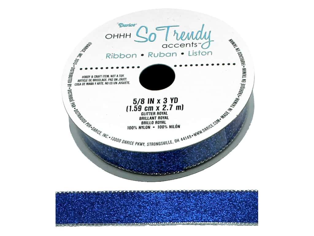 Darice Glitter Ribbon 5/8 in. x 3 yd. Royal