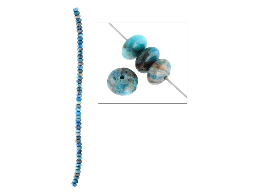 John Bead Semi-Precious 8 in. 6 mm Rondelle Blue Crazy Lace Agate