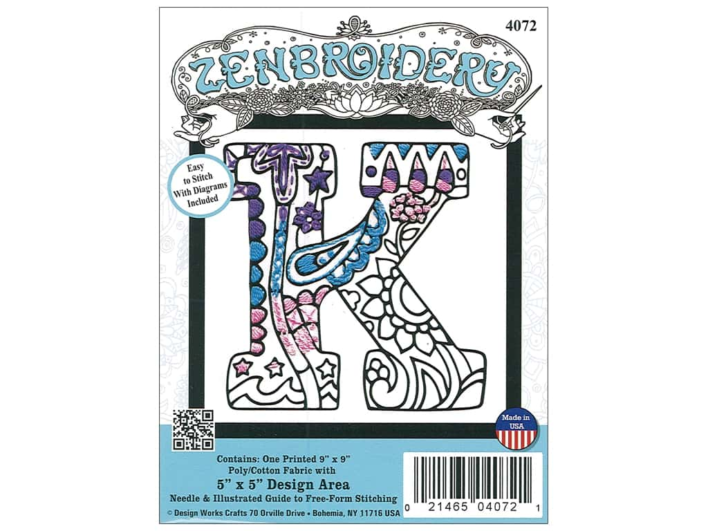 """Design Works Zenbroidery Fabric 5""""x 5"""" Letter K"""