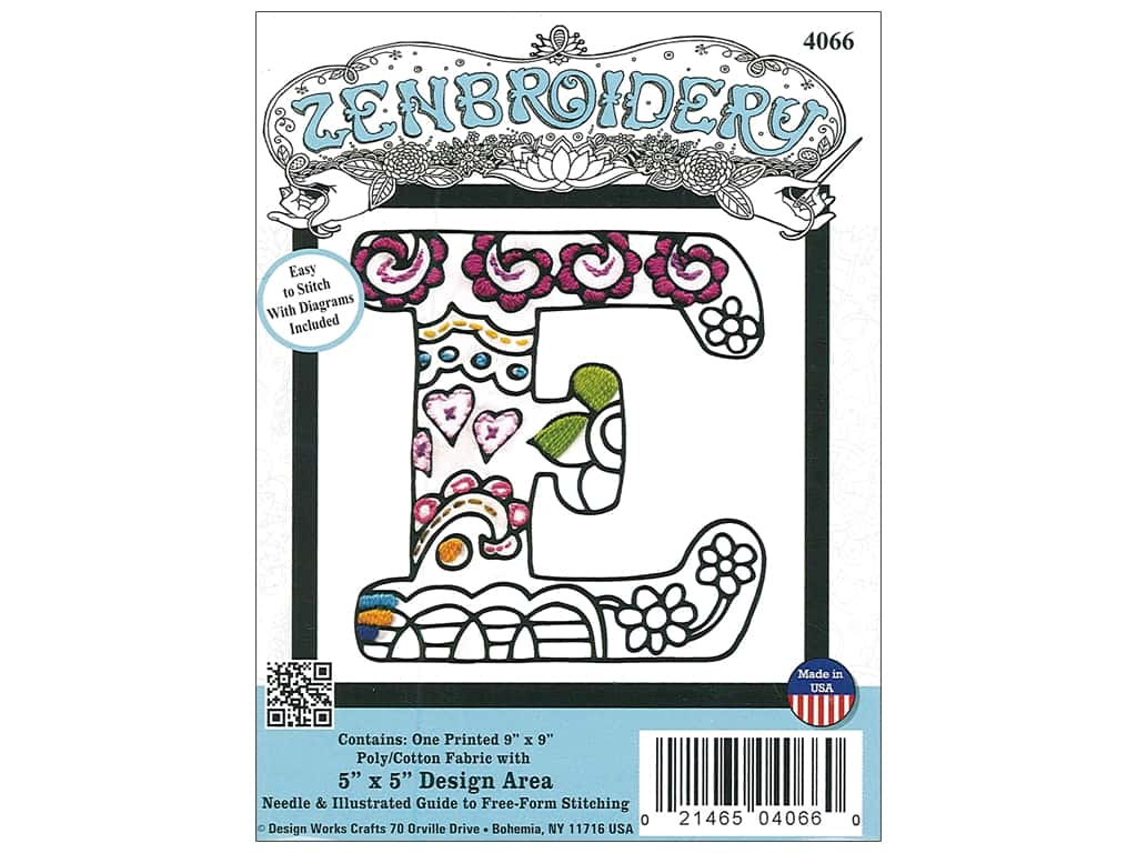 """Design Works Zenbroidery Fabric 5""""x 5"""" Letter E"""