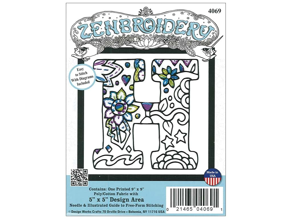 """Design Works Zenbroidery Fabric 5""""x 5"""" Letter H"""