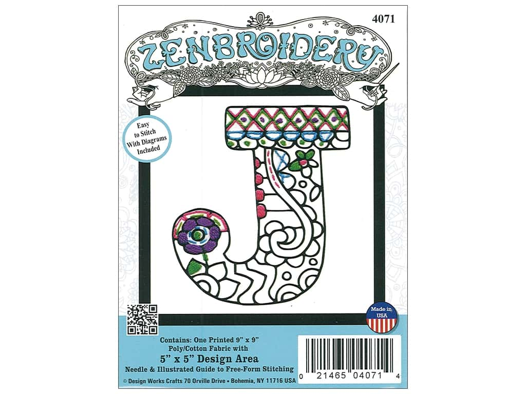 """Design Works Zenbroidery Fabric 5""""x 5"""" Letter J"""