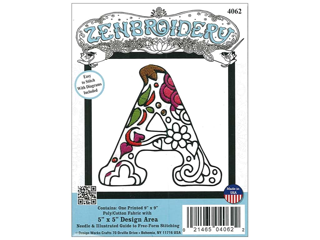 "Design Works Zenbroidery Fabric 5""x 5"" Letter A"