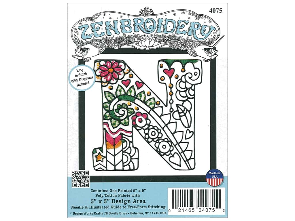 "Design Works Zenbroidery Fabric 5""x 5"" Letter N"