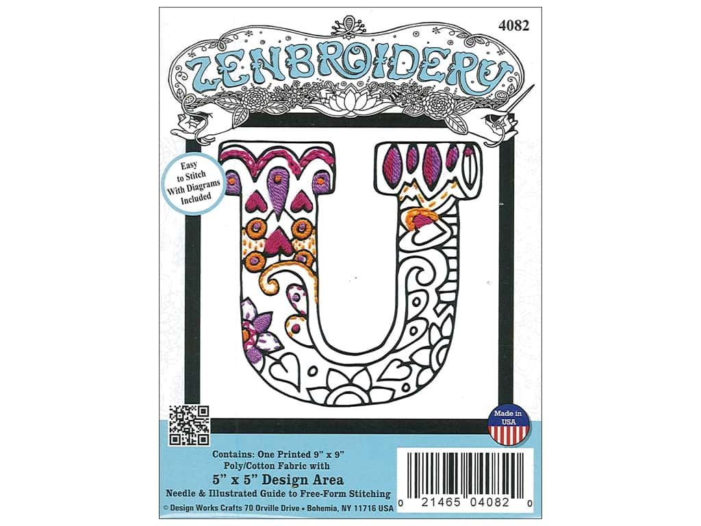 """Design Works Zenbroidery Fabric 5""""x 5"""" Letter U"""
