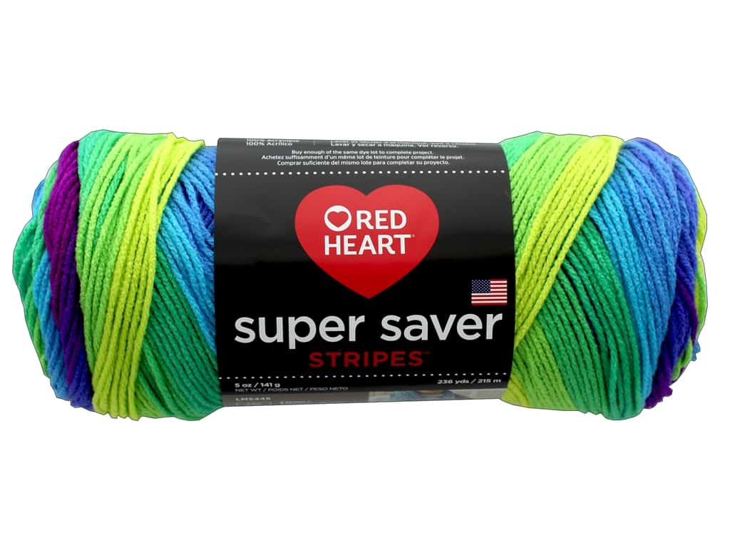 Red Heart Super Saver Stripes Yarn - #4968 Parrot 236 yd.