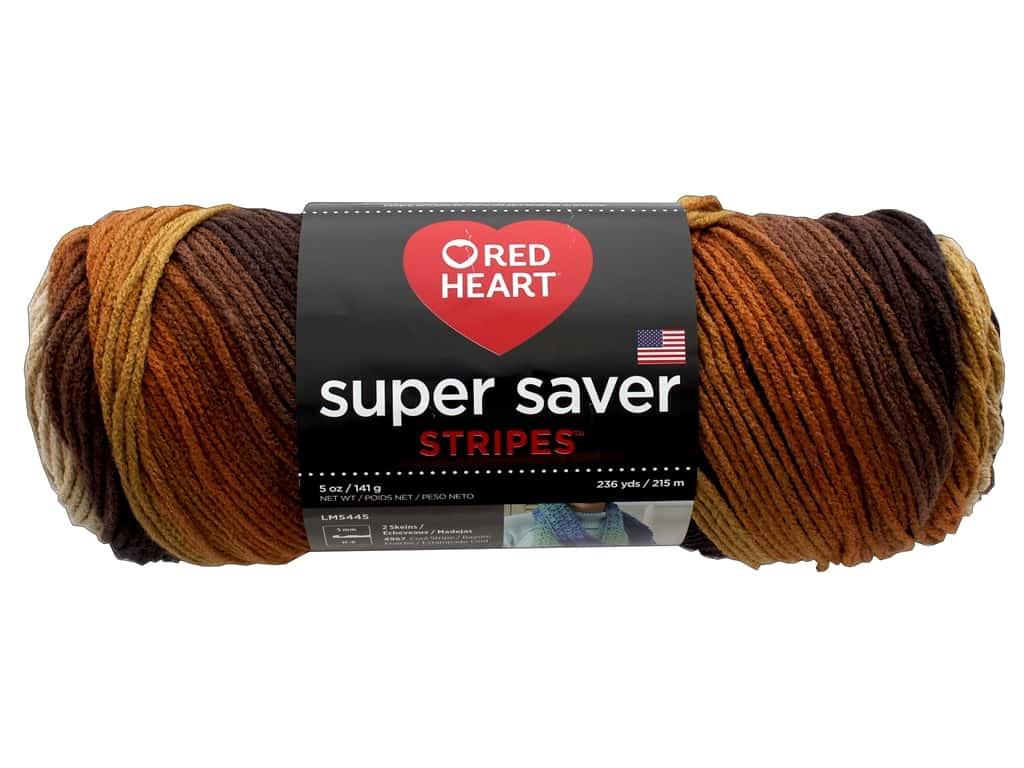 Red Heart Super Saver Yarn 236 yd. #4969 Latte Stripe