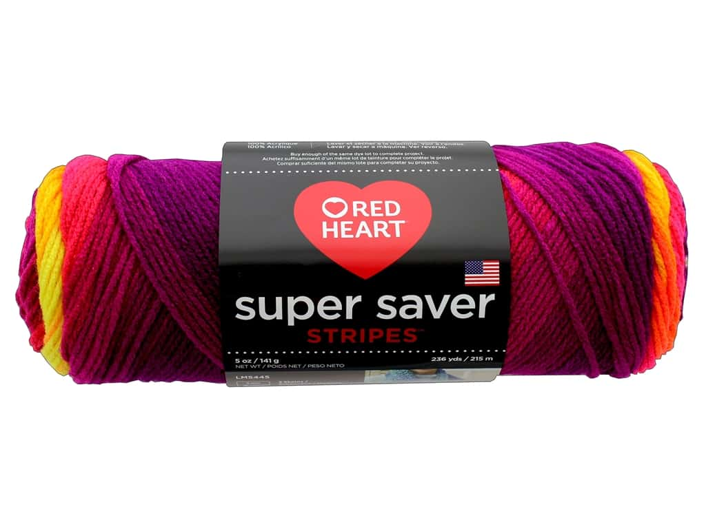 Red Heart Super Saver Yarn 236 yd. #4962 Fruity Stripe