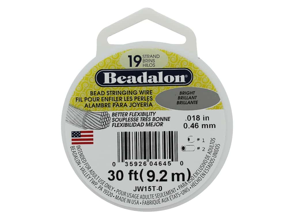 Beadalon Bead Wire 19 Strand .018 in. Bright 30 ft.