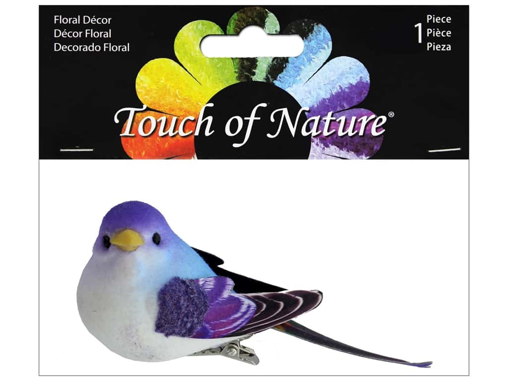 "Midwest Design Birds 3.5"" Paper Wing Purple/Blue 1pc"