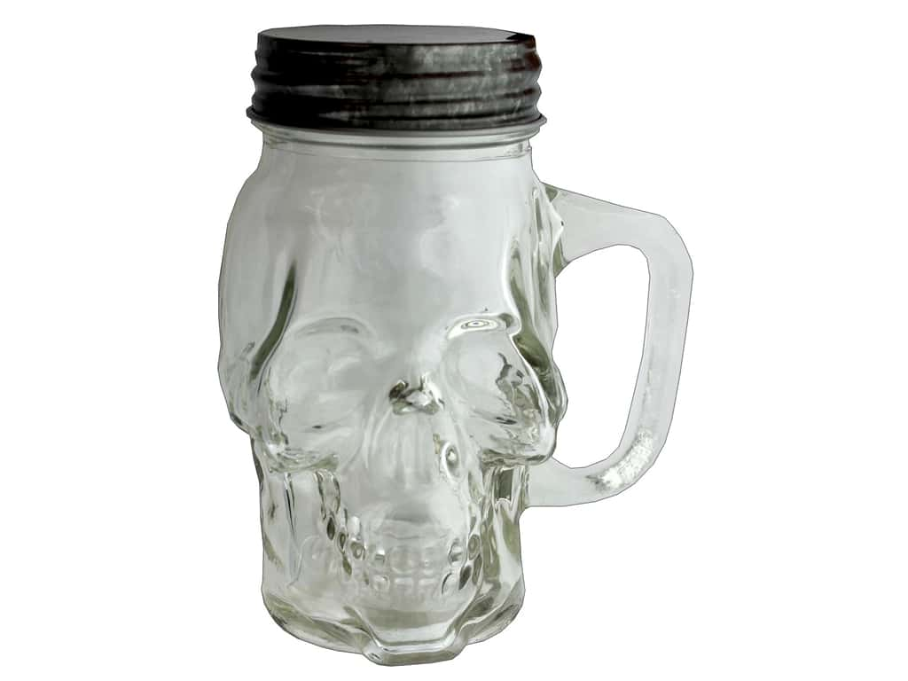 Sierra Pacific Crafts Decor Skull Jar With Lid 6 in. Clear (3 pieces)
