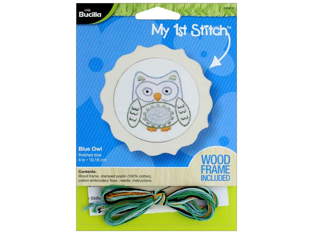 Bucilla Stamped Embroidery Kit  4 in. Blue Owl