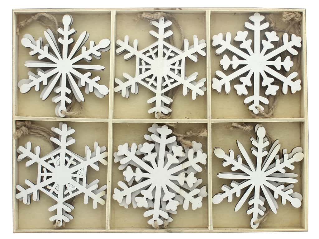 Sierra Pacific Crafts Wood Ornament Snowflakes .5 in. Box 12 pc White