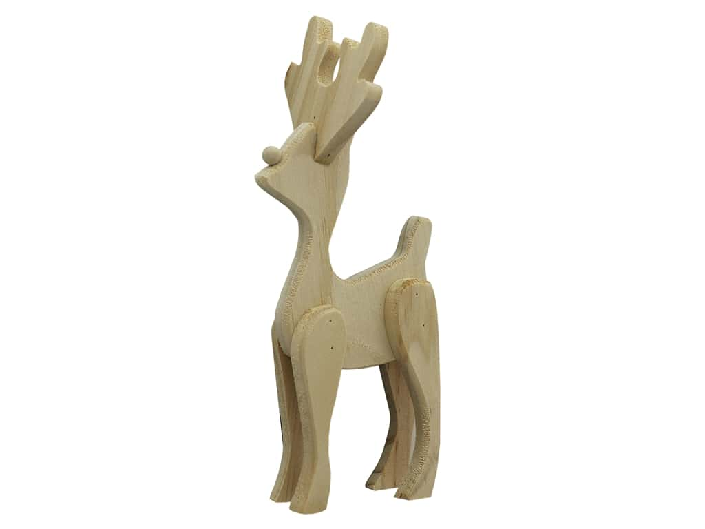 Darice Unfinished Wood Reindeer 6 in. Standing
