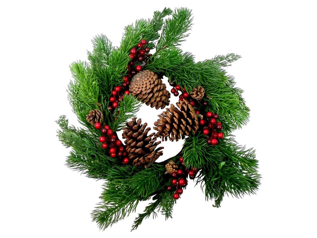 Sierra Pacific Crafts Wreath Spruce wwith Pinecones & Berries Green/Red