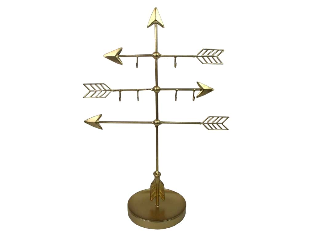 Sierra Pacific Crafts Metal Jewelry Holder Arrows Gold