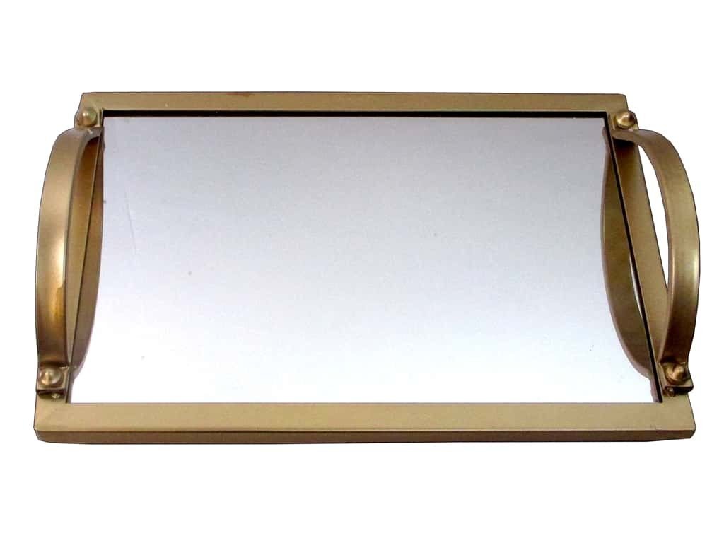 Sierra Pacific Crafts Decor Metal Tray with Mirror Base 13.25 in.  Gold