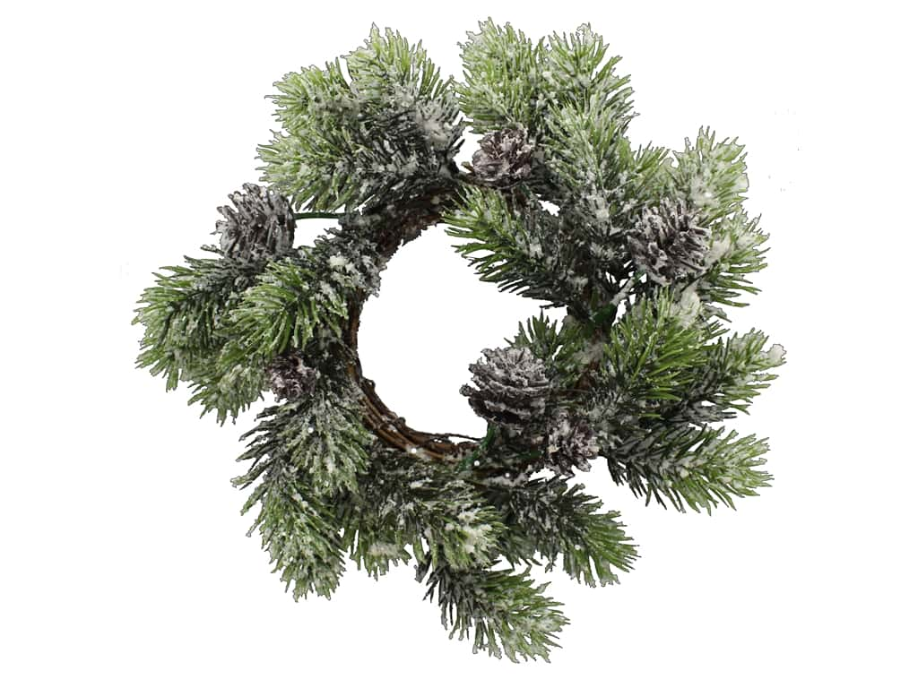Sierra Pacific Crafts 10 in. Pine Candle Ring with Snow