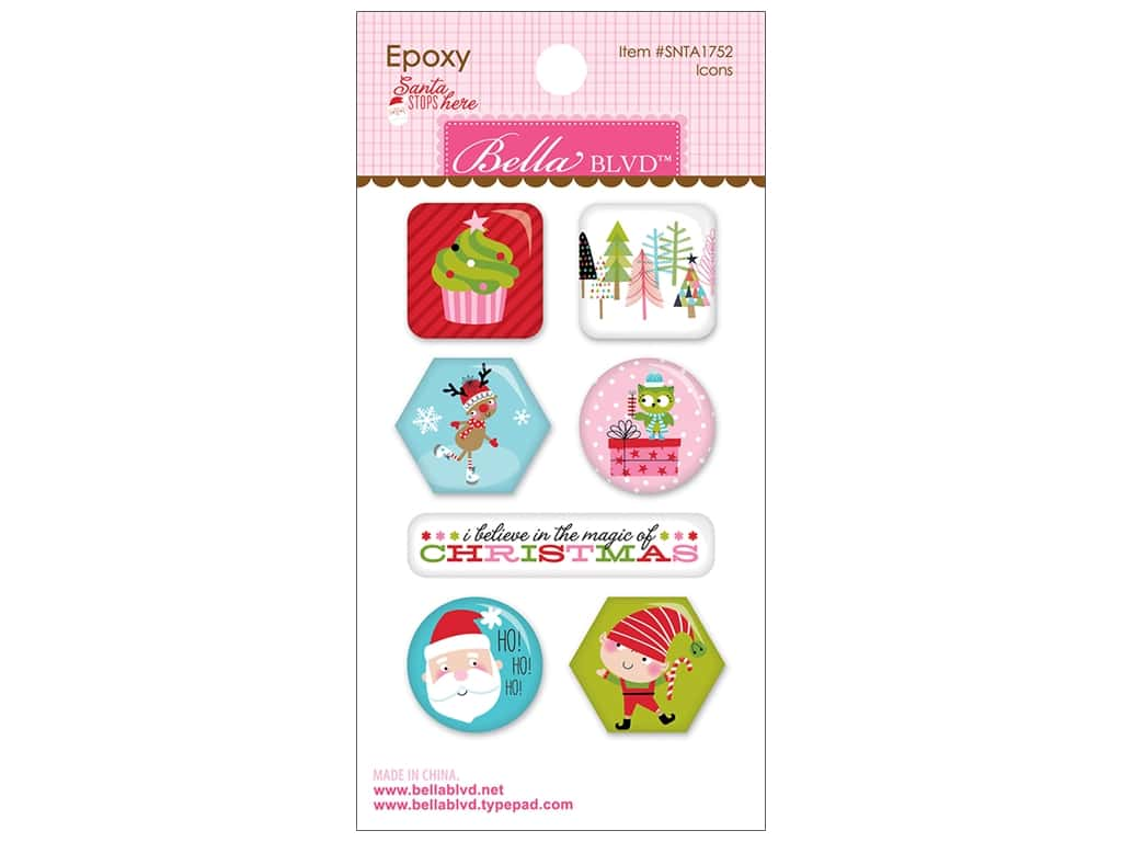 Bella Blvd Santa Stops Here Sticker Epoxy Icons