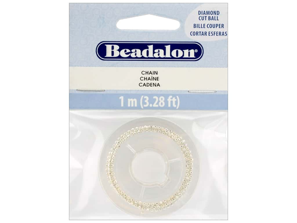 Beadalon Chain Ball Diamond Cut 1mm Silver Plate 1M