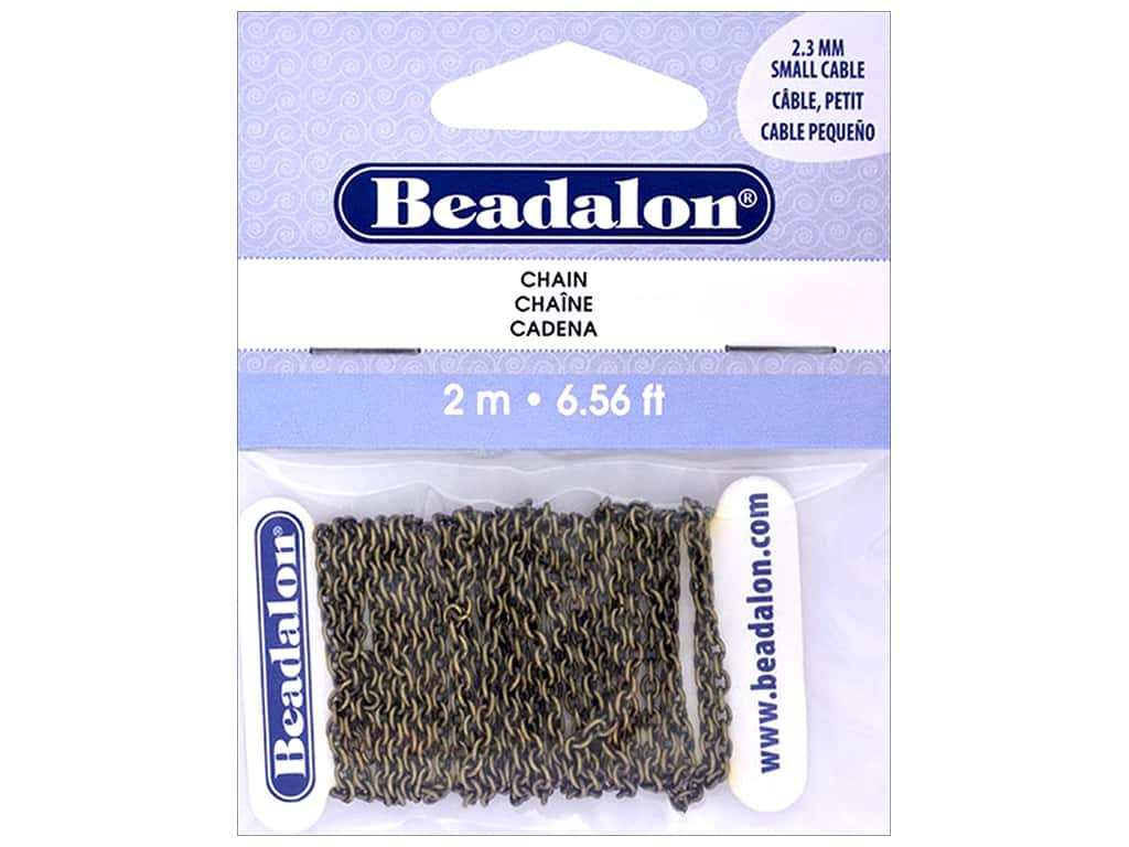 Beadalon Chain Cable Small 2.3mm Antique Brass 2M