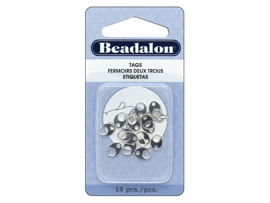 Beadalon Tags Wide Oval Silver Plated 15 pc.