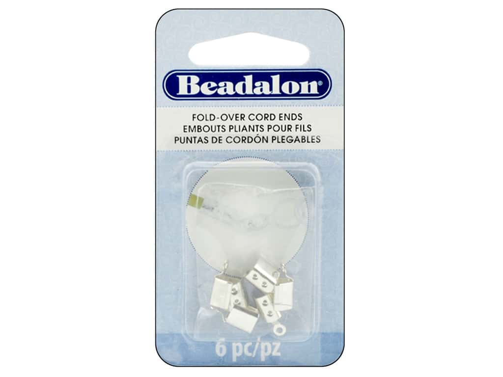 Beadalon Cord Ends Fold Over 4.4 mm Silver Plate 6pc