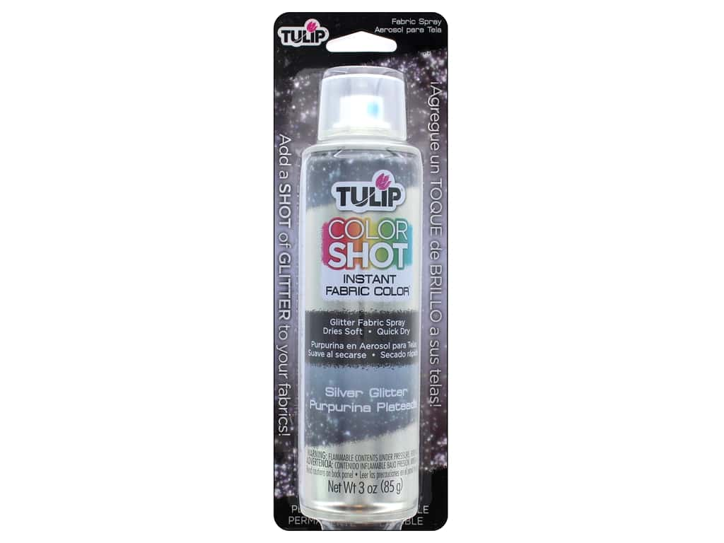 Tulip Color Shot Fabric Spray Aerosol Glitter Silver 3 oz
