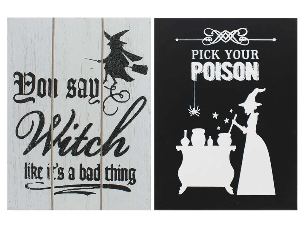 Darice Wood Plaque Assorted Witch