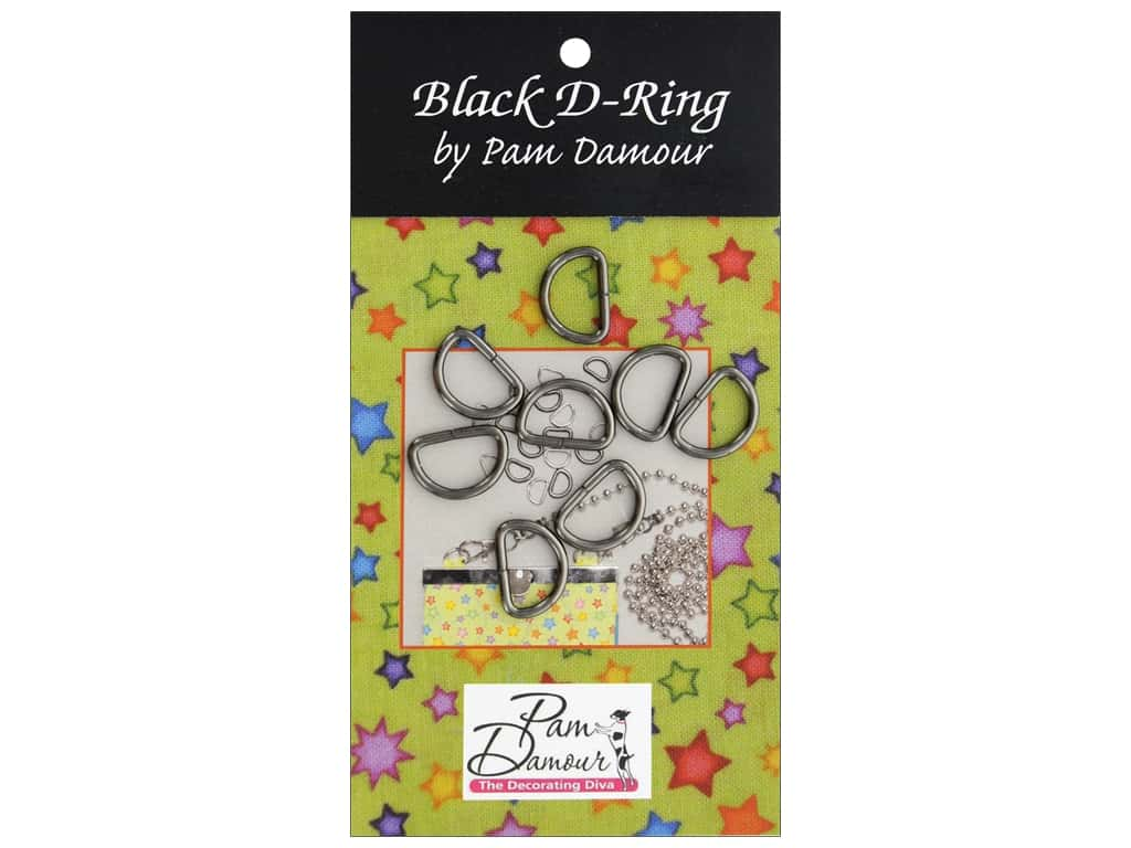 Pam Damour D Rings .5 in.  Black 8pc