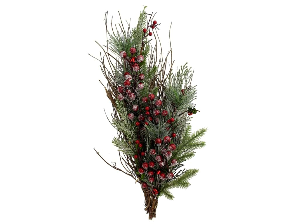 "Darice Christmas Teardrop 24"" Snowberry Red"
