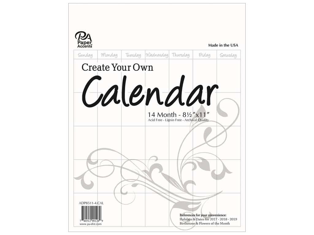 Paper Accents Calendar Create Your Own 8 1/2 x 11 in. 14 Month Blank White