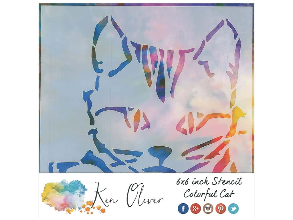 Contact Crafts Ken Oliver Stencil 6 in. x 6 in. Colorful Cat