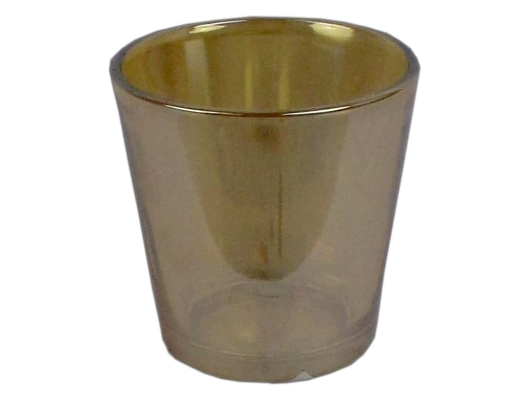 Sierra Pacific Crafts Decor Glass Candle Holder 3 in. x 3 in. Mercury Cup Metallic Amber (3 pieces)