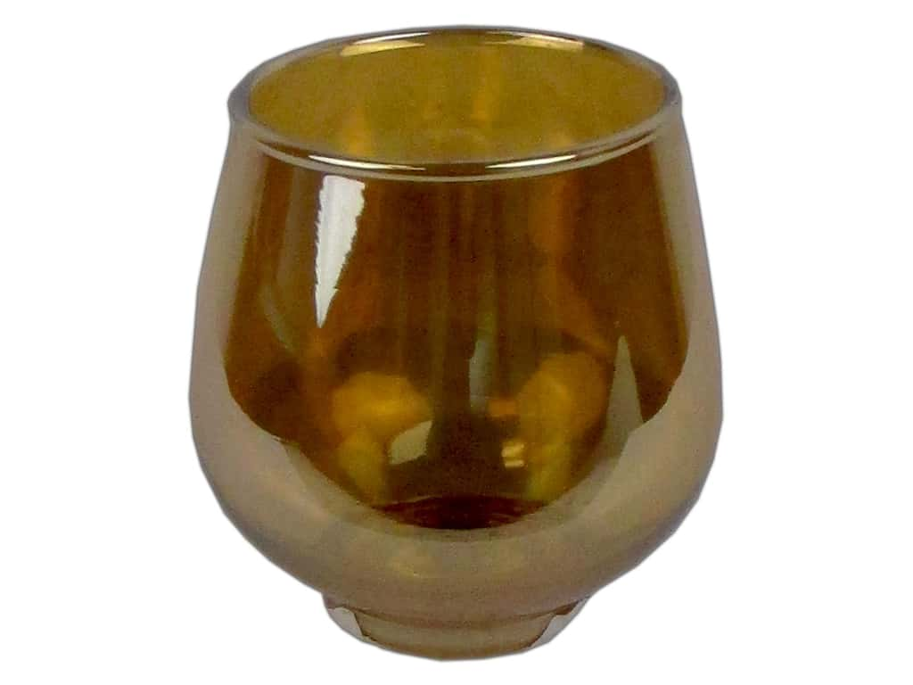 Sierra Pacific Crafts Glass Candle Holder Small Round Mercury Cup Metallic Amber (3 pieces)