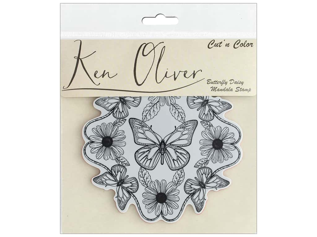 Contact Crafts Ken Oliver Cut N Color Stamp Butterfly Daisy Mandala