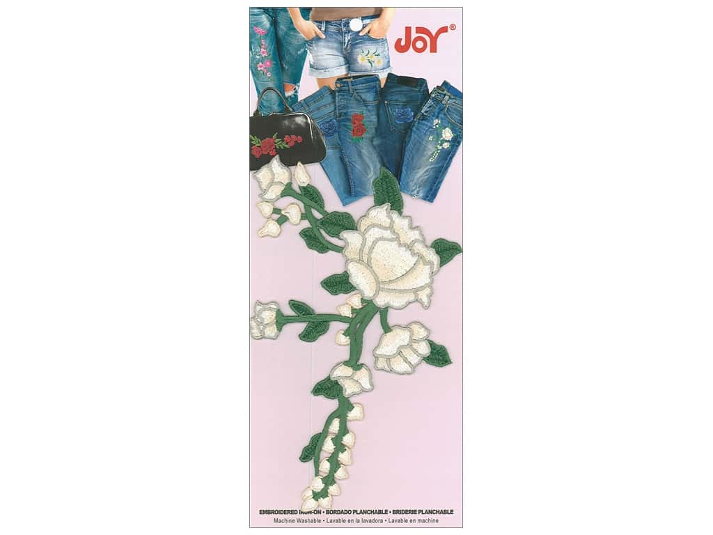 Joy Applique Iron On Rose with Trailing Vine Ivory