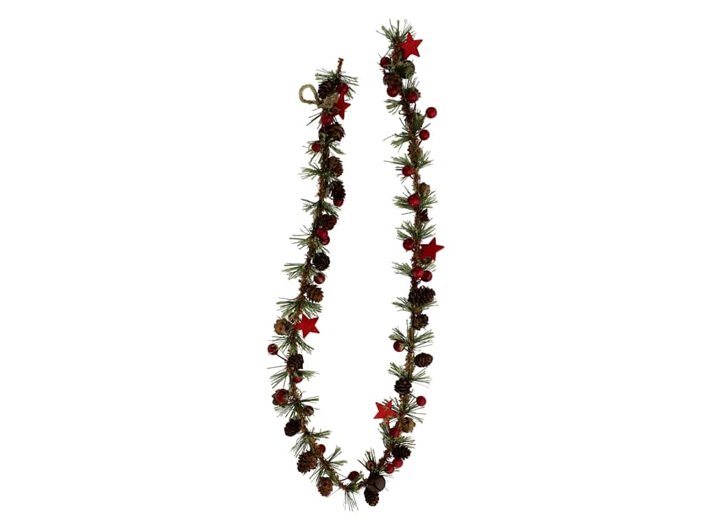 Sierra Pacific Crafts Garland Spruce With Mini Pinecones, Berries & Stars