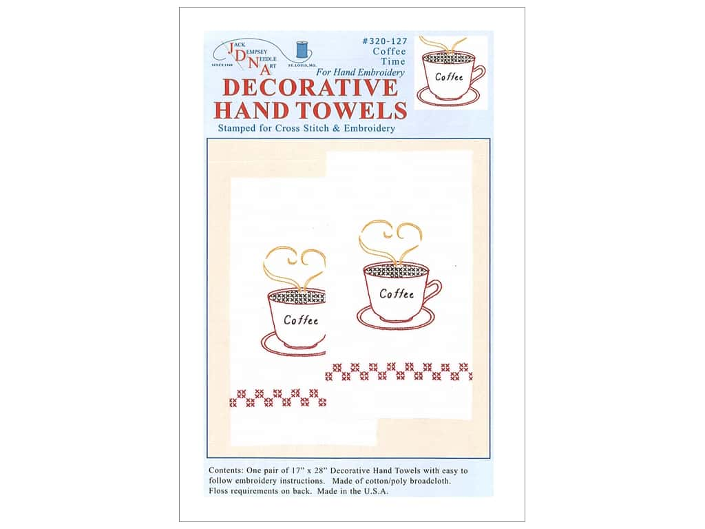 Jack Dempsey Decorative Hand Towel - Coffee Time 2 pc.