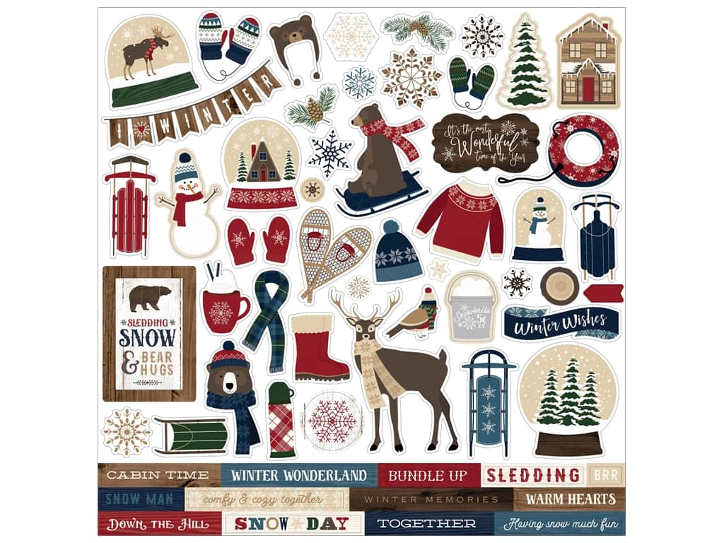 "Carta Bella Collection Cabin Fever Sticker 12""x 12"" Elements (15 pieces)"