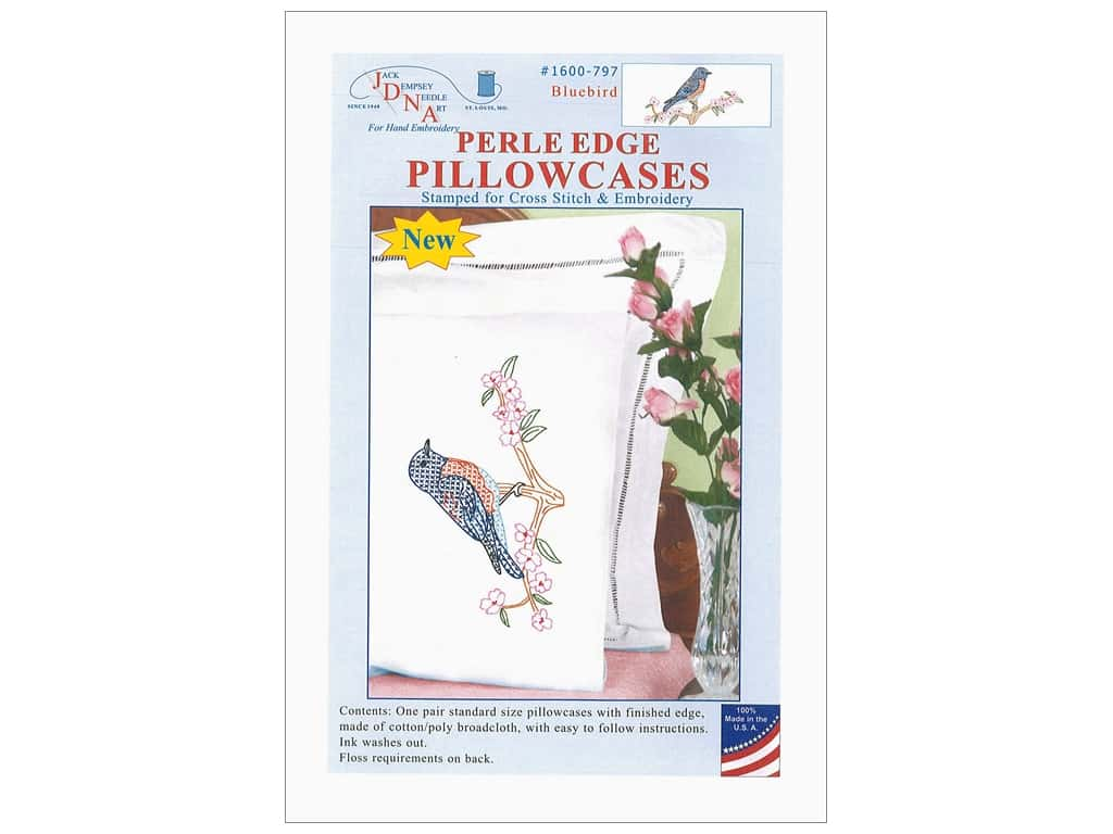 Jack Dempsey Perle Edge Pillowcase - Bluebird