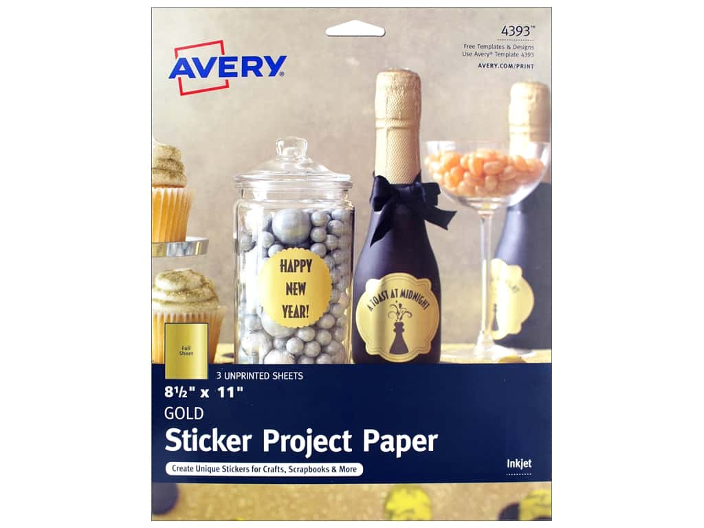 "Avery Printable Sheet Sticker Paper 8.5""x 11"" Gold 3pc"