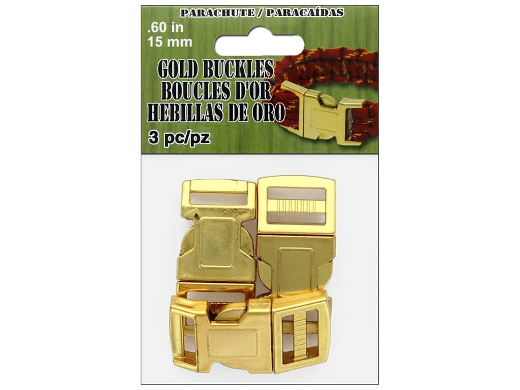Pepperell Parachute Cord Buckle 15 mm Gold 3 pc