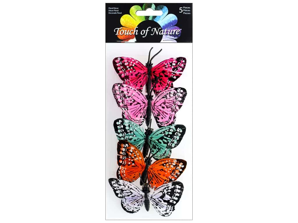Midwest Design Butterfly 3 in.  Feather Assorted 5 pc